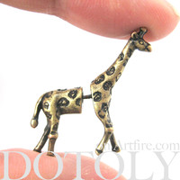 Fake Gauge Earrings: Realistic Giraffe Shaped Animal Faux Plug Stud Earrings in Brass