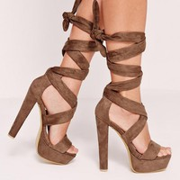 Missguided - Wrap Around Platform Sandals Brown
