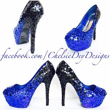 Blue Ombre Sequin Glitter Platform Pumps, Something Blue Wedding Shoes