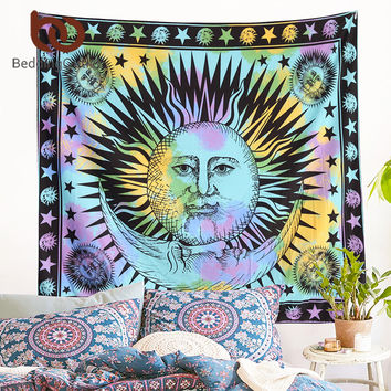 BeddingOutlet Colorful Tapestry Psychedelic Celestial Indian Sun Tapestry Wall Hanging Throw Bohemian Door Curtain 145cmx165cm