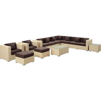 Modern Patio Furniture Cohesion 11 Piece Sectional Set Tan Brown Cusions