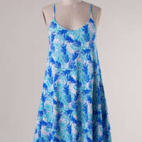 The Pineapple of My Eye Dress - Mint/Blue
