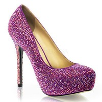 PRESTIGE-20 Fuchsia Suede Iridescent Rhinestone Covered Pump