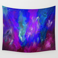 Midnight Flower Garden In Shades of Deep Blue, Violet, Purple and Pink Wall Tapestry by Jenartanddesign