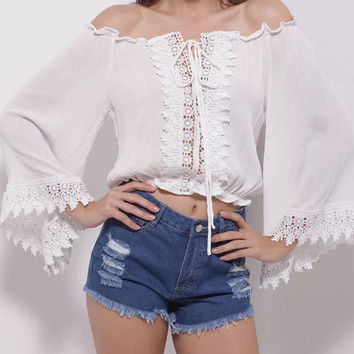 White Off Shoulder Lace Panel Wide Sleeve Crop Blouse