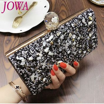2017 New Evening Bags Ladies Stone Handbag Shiny Diamonds Clutches Vintage Black Night Party Purse Hard Chain Handbags 2 Colors