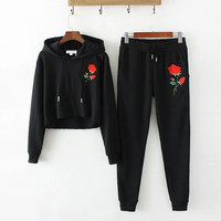 Sexy Appliques Flower Embroidery Hoodies Sets Woman Crop Sweatshirt Casual Tracksuit Long sleeve Sportswear