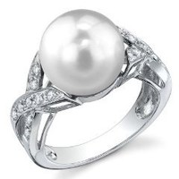 10mm White South Sea Cultured Pearl & Diamond Infinity Ring in 18K Gold