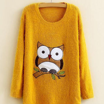 Long Sleeve Yellow Mohair Owl Sweater