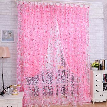 Beautiful Print Floral Voile Door Sheer Window Curtains Room Curtain Divider Modern Curtain Bamboo 2m x 1m