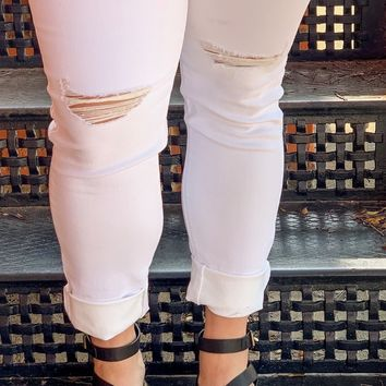 Something About White Distressed Skinny Jean l KanCan Brand