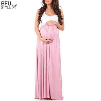 Maternity Dresses Summer Photography Props Maxi Mother Dress Sleeveless Pregnant Gown Fancy Shooting Photo Patchwork Vestidos
