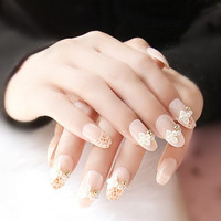 Delicate 24 PCS Pearl Flowers Embellished Leopard Pattern Nail Art False Nails