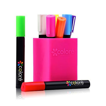 Colore Liquid Chalk Markers - Best For Restaurant Menu Board, Windows, Blackboard, Chalkboard Paint, Glass Mirror - FREE Colored Pen Holder - 6mm Reversible Tip - For Kids & Artist - 8 Vibrant Colors