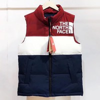 The North Face New fashion letter print contrast color vest coat Red