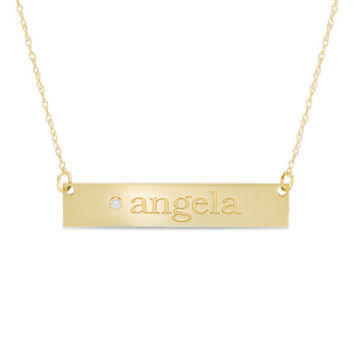 Diamond Accent Name Bar Necklace in 10K Gold (8 Characters)