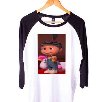 Agnes and Unicorn Despicable Me 2 Short Sleeve Raglan - White Red - White Blue - White Black XS, S, M, L, XL, AND 2XL*AD*