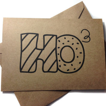 Funny Christmas Card - Ho to the Third Power - Handmade Rustic Greeting Card Recycled Kraft Card by Rustic Brand