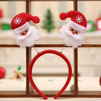 1 PC Novelty Christmas Gift Hairbands Snowflake Santa Claus X mas Socks Headbands Girls Lovely Hair Accessories Headwear 6A0502