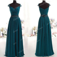 hunter green prom dresses, elegant prom dresses, long prom dresses, cap sleeve prom dresses, prom dresses, evening dresses, BE0420