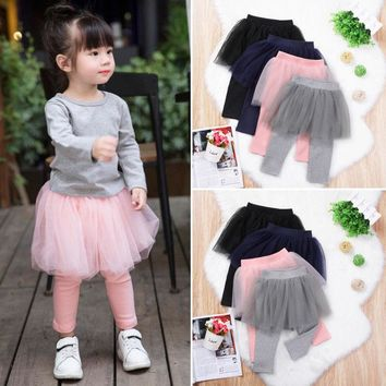 2019 Newly Stylish Toddler Girl Clothes Pantskirt Baby Kids Lace Tutu Skirt Leggings Pants Culotte Pantskirt Clothes