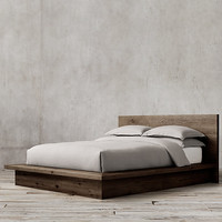 Reclaimed Russian Oak Platform Bed without Footboard