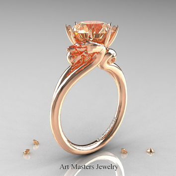 Art Masters Scandinavian 14K Rose Gold 3.0 Ct Champagne Diamond Dragon Engagement Ring R601-14KRGCHD