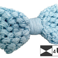 Blue Hand Knitted Bow Tie Crochet Bow Tie Dickie Bow Bowtie Wedding Bow Tie Groomsmen Bow Tie Man Men Lady Gift Fancy BowTie4You Handmade