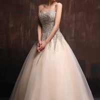Embellished Tulle Strapless Golden Ballgown