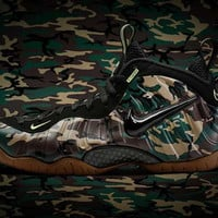 "Air Penny Foamposites Pro""Army Camo"" Black Upper Maize-Army Green Light Brown Gum Basketball Shoes"
