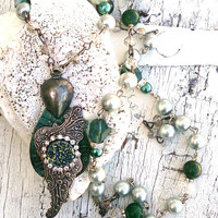 Antique Wing Necklace Druzy Semi Precious Stone Patina Pendant Crystal and Pearls