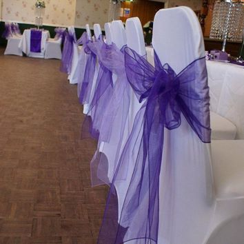 New colors Chair Cover Sashes Organza Material 100 PCS Wedding Sash Wedding Party Wedding Decorations Bow
