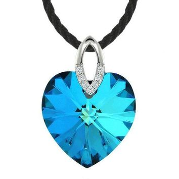 Sterling Silver Blue Heart Pendant Necklace Created with Swarovski® Crystals