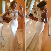 See Through Lace Mermaid White Prom Dresses