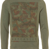 Khaki Floral Printed Sweatshirt - Mens Cardigans & Sweaters  - Clothing