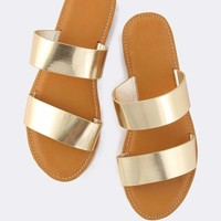 Metallic Duo Strap Sandals GOLD