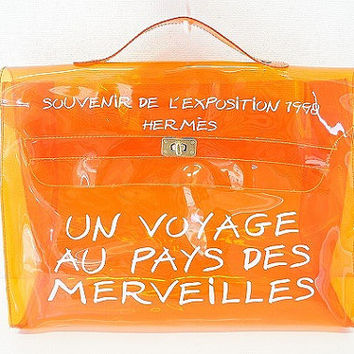 SALE SPECIAL Hermes a rare transparent Vintage orange vinyl Kelly bag Japan Limited Edition, Seibu Department Store. Must-have rare piece.