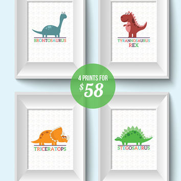Kids Wall Art / Dinosaur Children's Decor / Four 8x10 Child Decor Dino Prints / Brontosaurus, T-rex Triceratops, Triceratops, & Stegosaurus