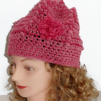 Crochet Hat with flower, Fuchsia and Pink  Multi Color Hat with Flower made from 100% Merino Wool Beret Style