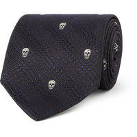 PRODUCT - Alexander McQueen - Skull-Embroidered Prince of Wales Check Silk Tie - 397662 | MR PORTER