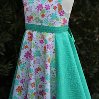 Girl's Dress- Easter Dress-Spring Dress-Flower Dress- Cotton Dress- Summer dress- Sundress
