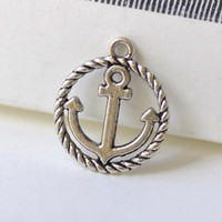 Coiled Anchor Ring Charms Antique Silver Round Nautical Pendants 15mm Set of 20 A8258