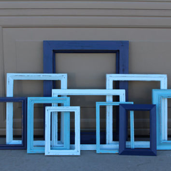 Custom Blue Nursery Set Shabby Frame Set Distressed Frames with Glass Backing