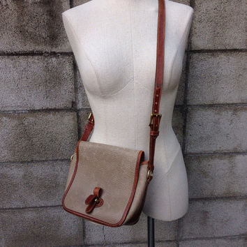 Dooney and Bourke Purse Vintage 1980s Cream White and Carmel Brown Leather Purse