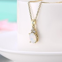 Womens Necklace Gift Ideas Opal Three Stone Classic Gold Necklace