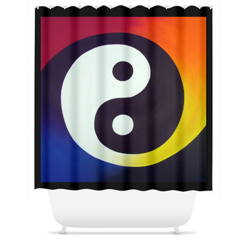 Balance - Shower Curtain of Rainbow Yin Yang Acrylic Paint Fine Art
