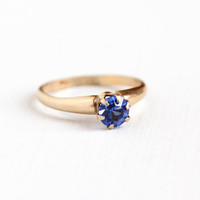 Vintage 10k Yellow Gold Filled Simulated Sapphire Ring - 1940s Size 7 Round Blue Rhinestone Solitaire September Birthstone Jewelry