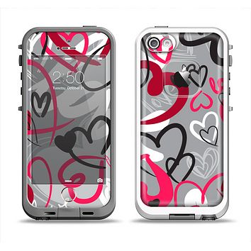 The Vector Love Hearts Collage Apple iPhone 5-5s LifeProof Fre Case Skin Set