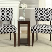 3 pc Sheryl collection espresso finish wood accent chair and side table set with wavey design patterned fabric