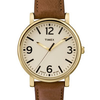 Timex Originals Gold Tone and Leather Round Watch